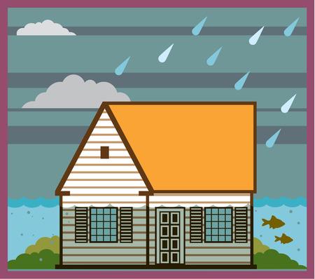 image overstroomde huis vector illustratie clip-art Stock Illustratie