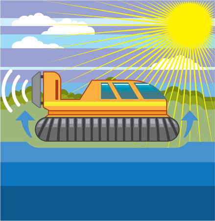 Hovercraft vector illustration clip-art image eps file