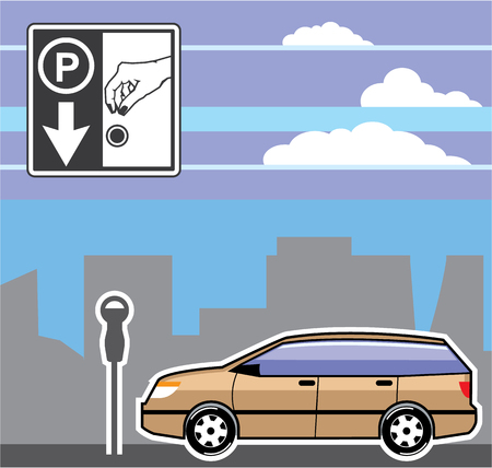 Pay to park vector illustration clip-art image