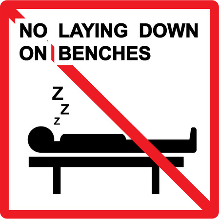 No laying down on benches vector sign illustration clip-art