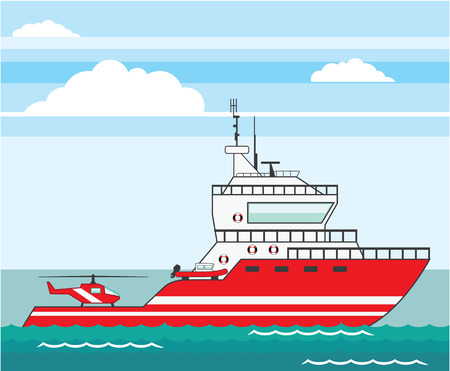 Coast guard ship vector illustration clip-art image