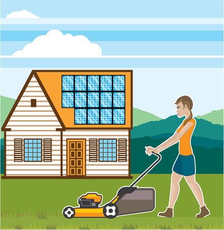 mowing the grass: Moving grass house vector illustration clip-art eps