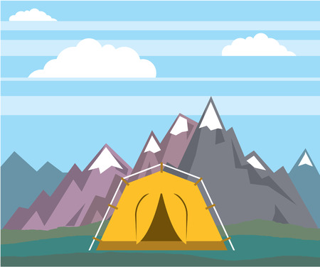 Mountains camping tent vector illustration clip-art image