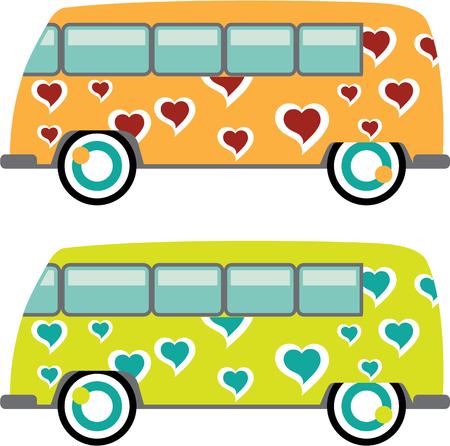 Imagen ilustración clip-arte Hippy vector bus Foto de archivo - 69556371