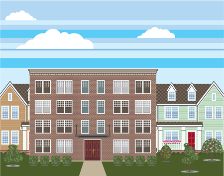 low income housing: Brick apartment building vector illustration