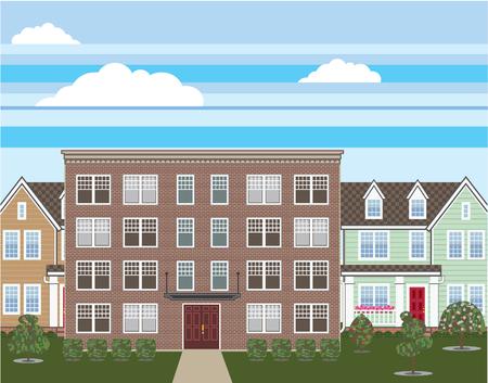 Brick apartment building vector illustration