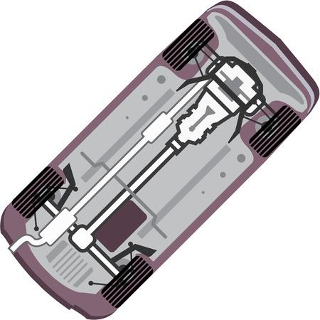 Vehicle under illustration clip-art image