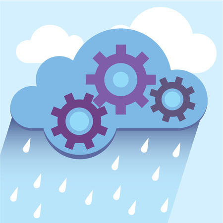 Cloud gears vector illustration clip-art image