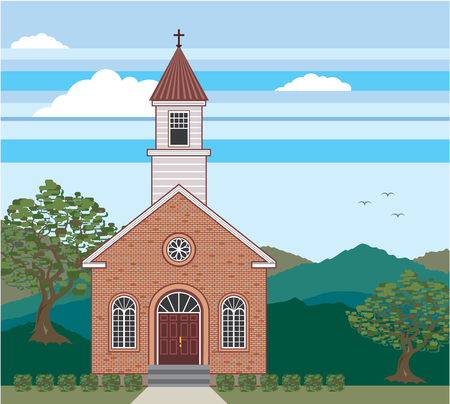 Brick church vector illustration clip-art image Çizim