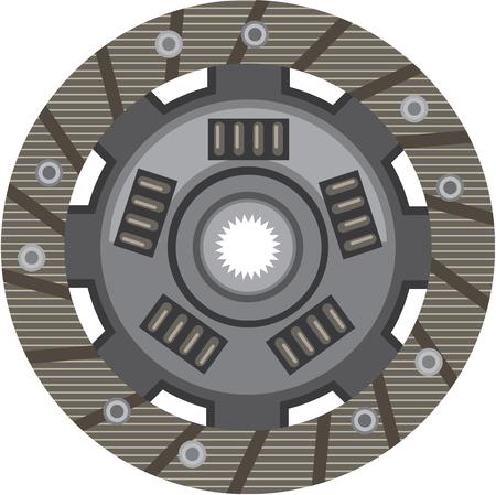 friction: Clutch car part vector illustration clip-art image