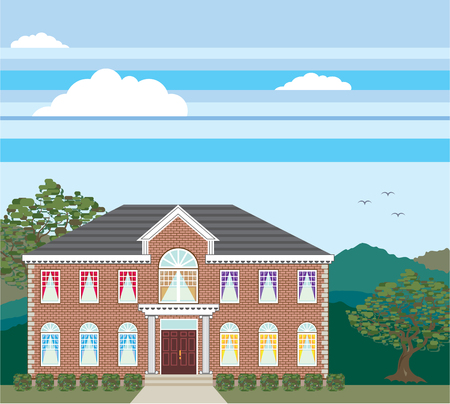 Brick mansion house detailed vector illustration