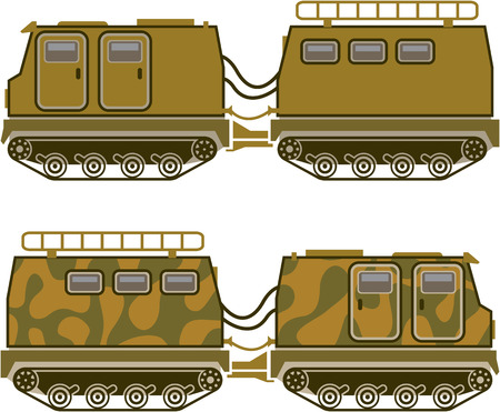 Military expedition tracked tractor vector illustration