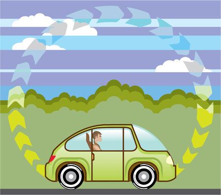 Renewable energy vehicle vector illustration clip-art Illusztráció
