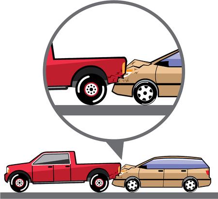 Rear end collision accident vector illustration Illustration