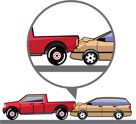 Rear end collision accident vector illustration Illustration