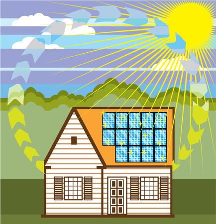 Solar power house vector illustration clip-art image