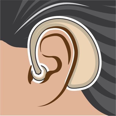 hearing aid: Hearing aid vector illustration clip-art image Illustration