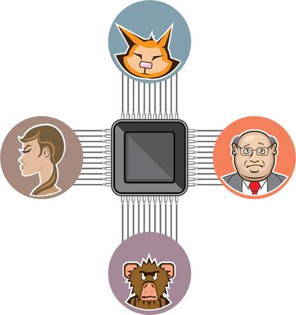 microcircuit: Processor connect major brainpower illustration clip-art Illustration