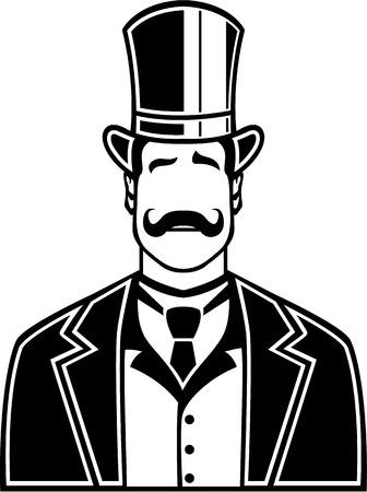 Vintage boss black and white vector illustration clip-art Illustration