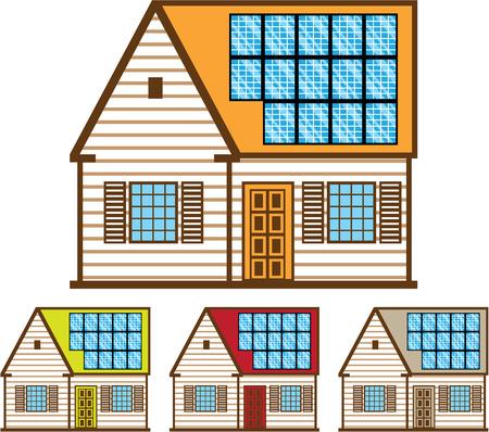 Solar panel house vector illustration clip-art