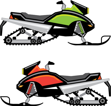 Snowmobile vector illustration clip-art image Vectores