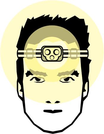 Flashlight head mounted gear vector illustration clip-art Stock Illustratie
