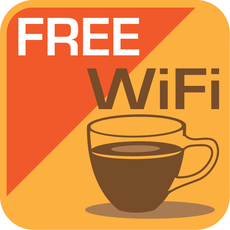 cybercafe: Free wifi icon illustration clip-art image