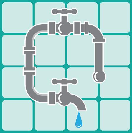 Plumbing pipes vector illustration clip-art 일러스트