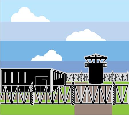 prison facility: Secure facility prison camp vector illustration clip-art image