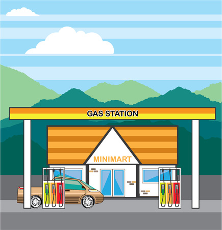 auto service: Gas pump with mini-mart vector illustration clip-art