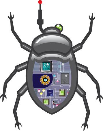 Nano bug robot vector illustration clip-art image