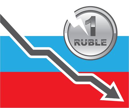 Russia Economy down Deflation illustration clip-art image