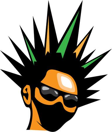 Spiky hair vector illustration clip-art image Vector Illustration