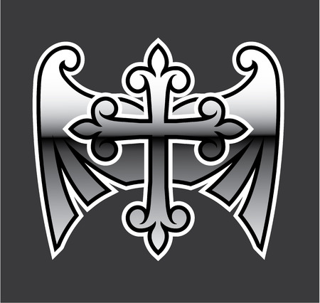 Chrome Cross with wings vector illustration clip-art image Illustration