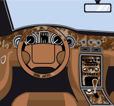 Car Interior exotic wood trim vector illustration clip-art image Illustration