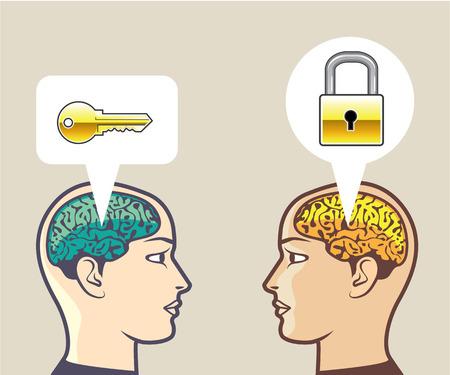 Key for the Mind illustration clip-art image vector