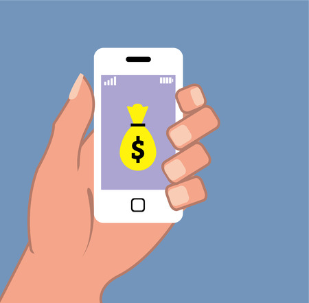 phone money: Smart phone money bag app vector illustration clip-art
