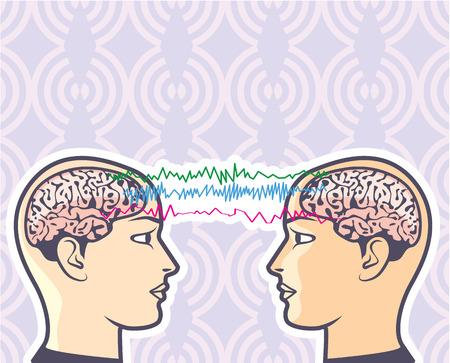 Telepathy Mind Reading Vector Humans illustration clip-art Illustration