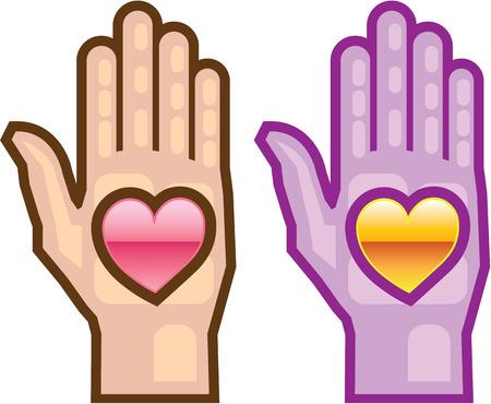 Hand and heart symbol vector illustration clip-art image Illustration