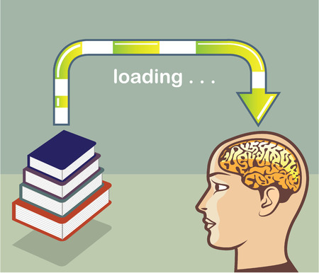 acquire: Loading Books into the mind vector illustration clip-art image
