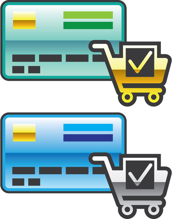 Credit card Icon with shopping cart vector Illustration