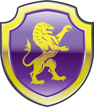 Lion gold royal shield purple illustration clip-art image Illustration