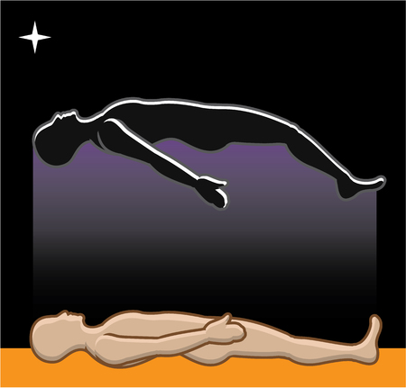 near death: Soul leaving the body after life vector illustration clip-art image
