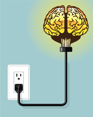 plugged in: Brain plugged in vector illustration clip-art image