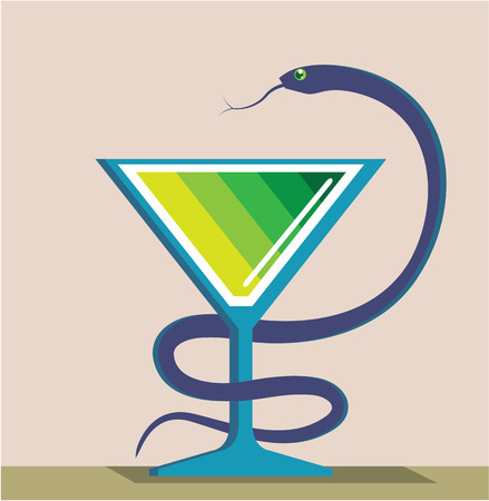 intertwined: Snake Oil vector Medical clip-art image