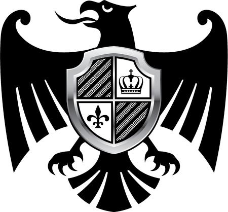 Black Eagle royal shield vector logo icon eps file Иллюстрация