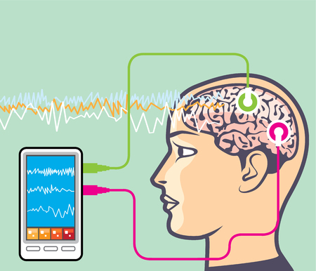 Brainwave monitoring device scan vector illustration