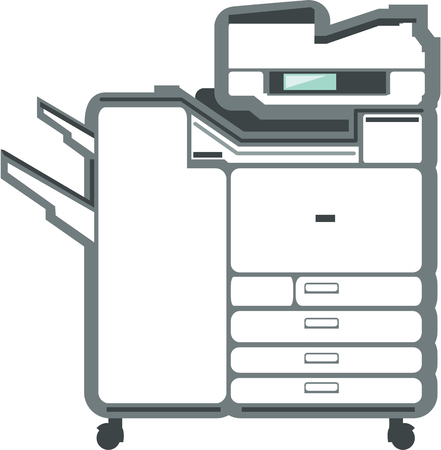 large: Large printer office equipment vector illustration clip-art Illustration