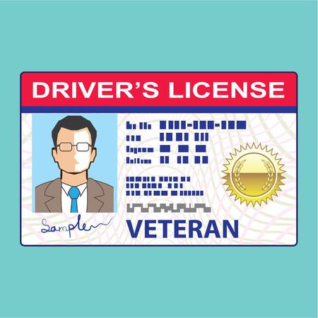 Veteran Drivers license Male clip-art illustration vector