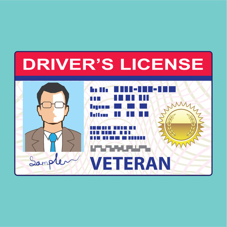 Veteran Drivers license Male clip-art illustration vector
